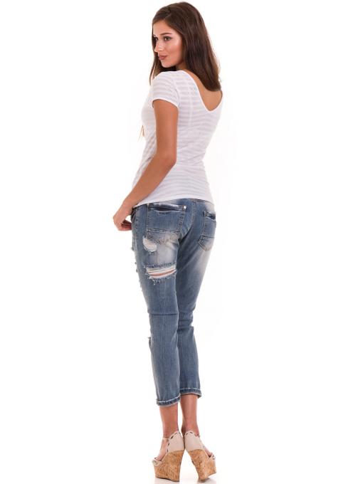 Дамска блуза на райе XINT 591 - бяла E