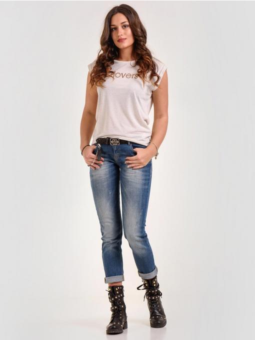 Дамска светлобежова блуза с надпис 601330 INDIGO Fashion