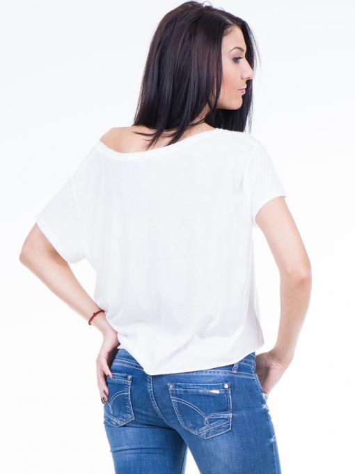 Дамска блуза свободен модел XINT 617 - цвят екрю B