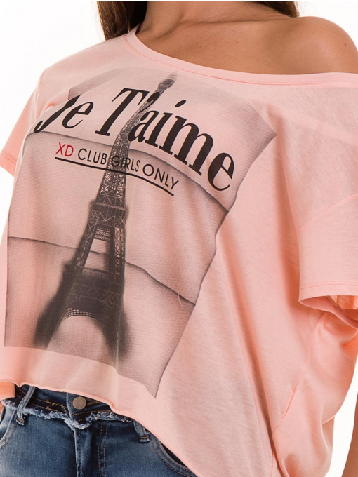 Дамска блуза свободен модел XINT 617 - цвят праскова D