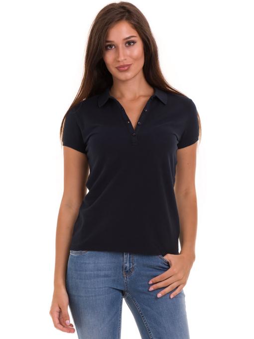 Дамска блуза с яка XINT 746 - тъмно синя
