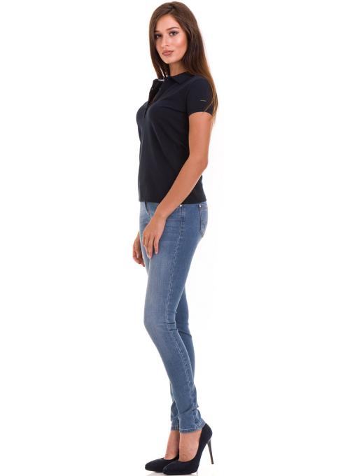 Дамска блуза с яка XINT 746 - тъмно синя C