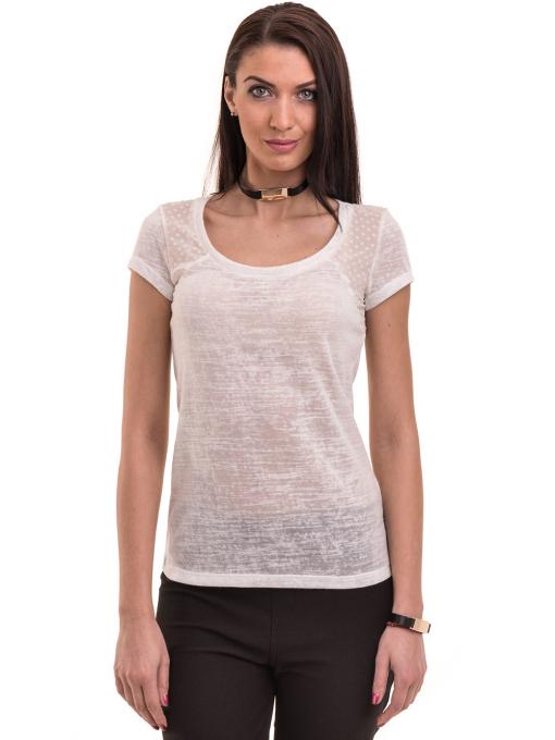 Дамска блуза с обло деколте XINT 755 - бяла