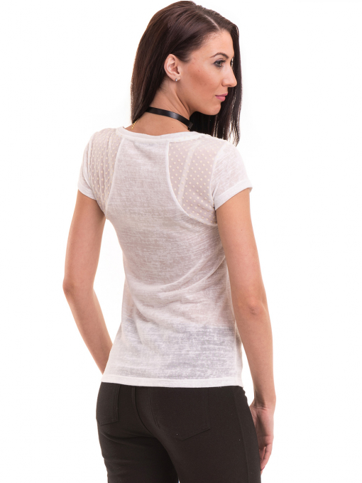 Дамска блуза с обло деколте XINT 755 - бяла B