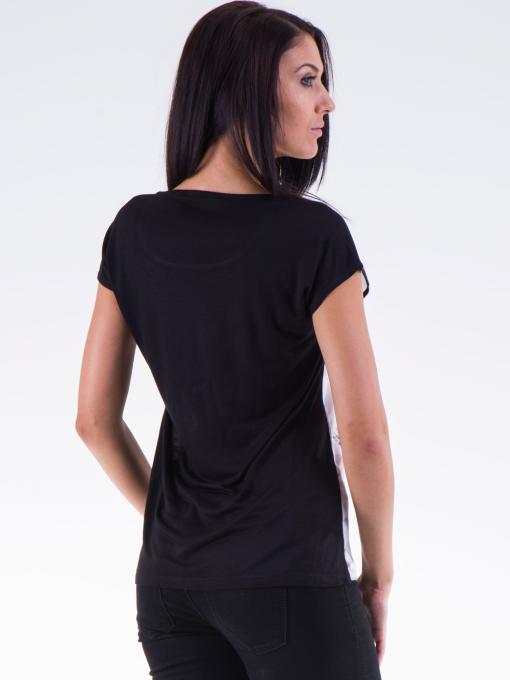Дамска блуза с щампа XINT 777 - черна B