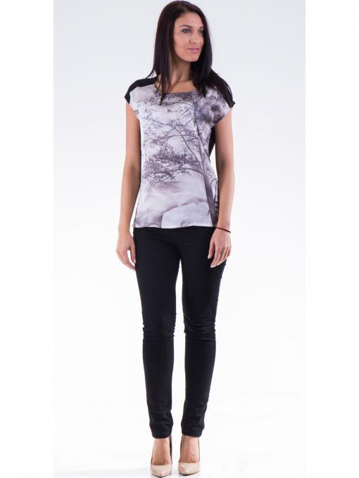 Дамска блуза с щампа XINT 777 - черна C