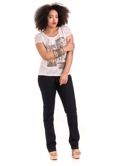 Дамска блуза с щампа XINT 806 - цвят екрю C