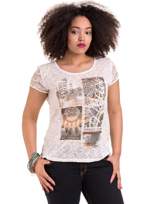 Дамска блуза с щампа XINT 806 - цвят екрю