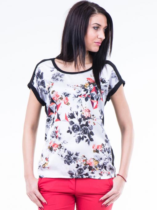 Дамска блуза с флорални мотиви XINT 807 - черна