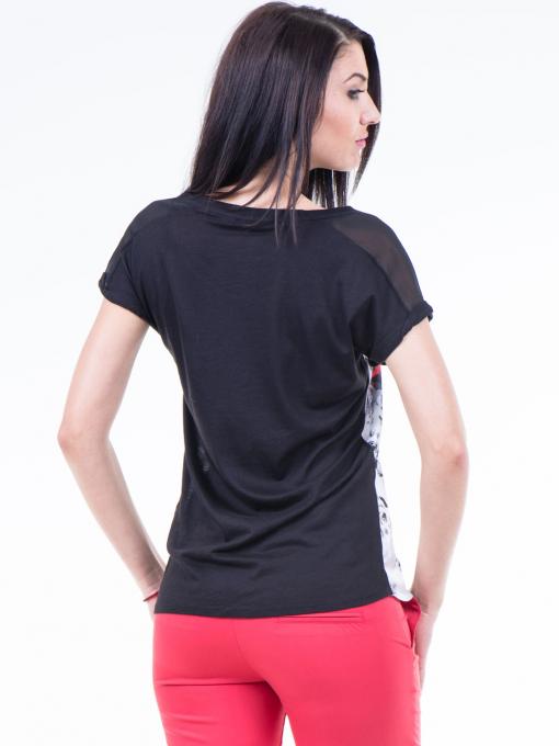 Дамска блуза с флорални мотиви XINT 807 - черна B