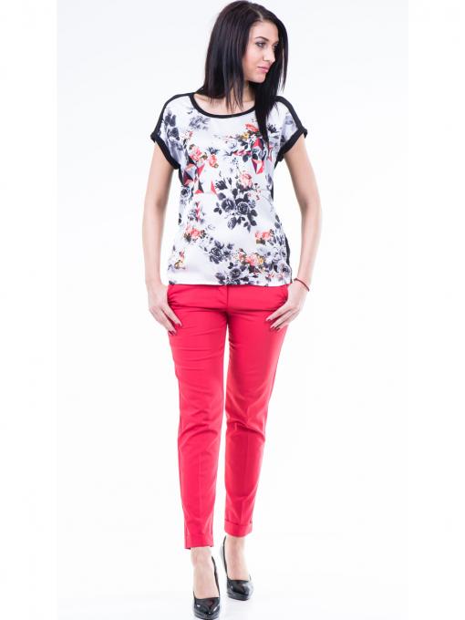 Дамска блуза с флорални мотиви XINT 807 - черна C