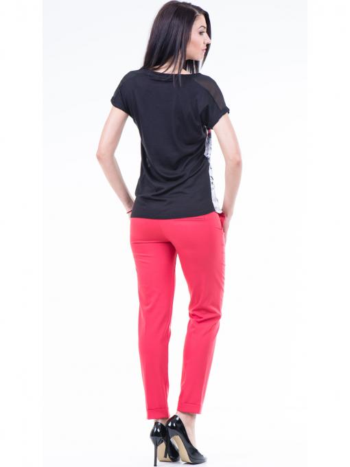 Дамска блуза с флорални мотиви XINT 807 - черна E