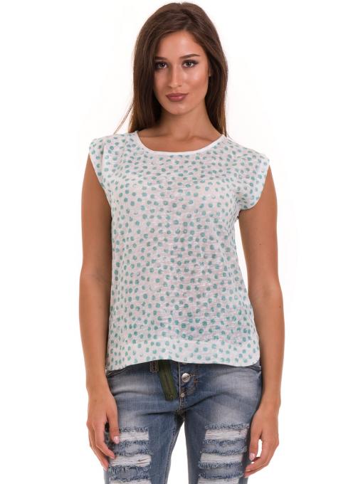 Дамска блуза на точки XINT 828 - зелена