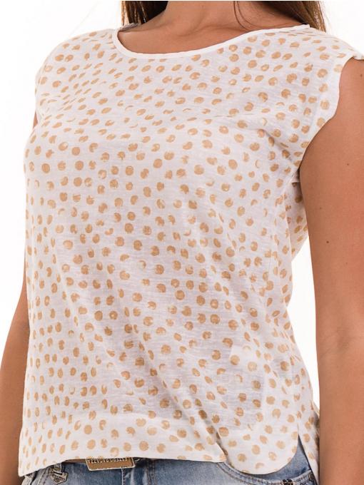 Дамска блуза на точки XINT 828 - цвят горчица D
