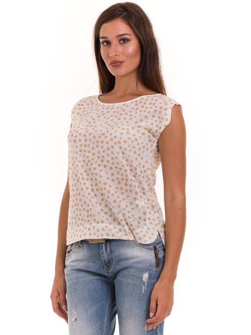 Дамска блуза на точки XINT 828 - цвят горчица