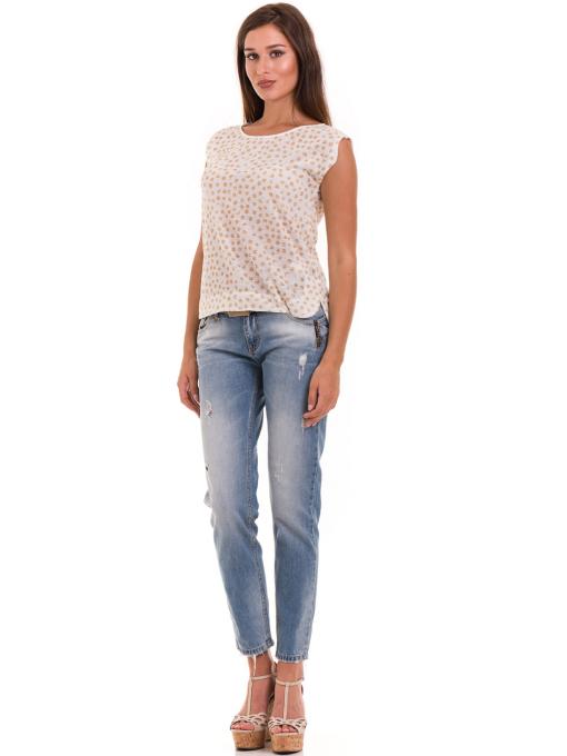 Дамска блуза на точки XINT 828 - цвят горчица C