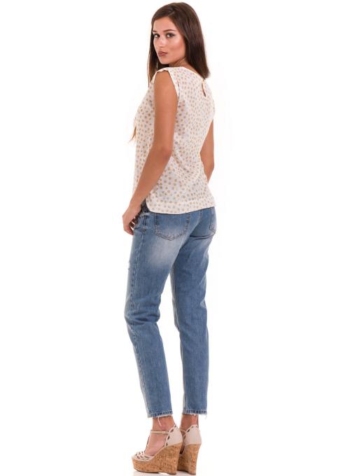 Дамска блуза на точки XINT 828 - цвят горчица E