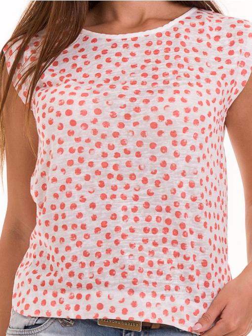 Дамска блуза на точки XINT 828 - цвят корал D