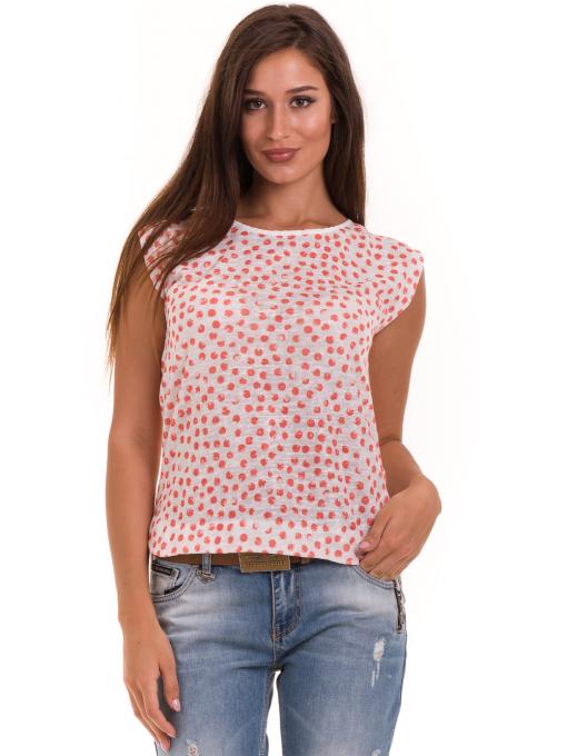 Дамска блуза на точки XINT 828 - цвят корал
