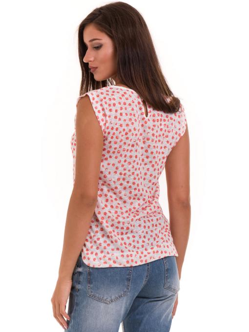 Дамска блуза на точки XINT 828 - цвят корал B