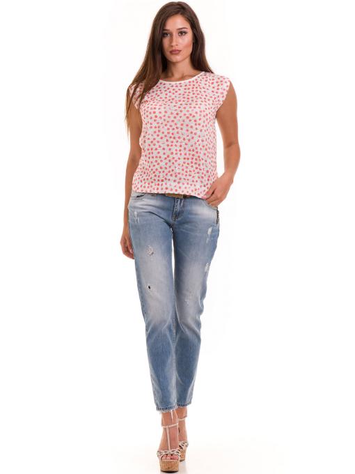 Дамска блуза на точки XINT 828 - цвят корал C