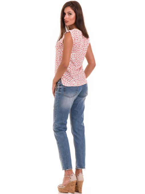 Дамска блуза на точки XINT 828 - цвят корал E