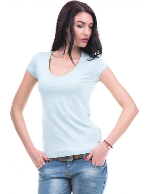 Дамска едноцветна блуза XINT 973 - зелена