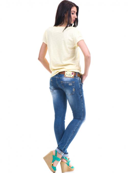 Спортна едноцветна тениска XINT с V-образно деколте - жълта E