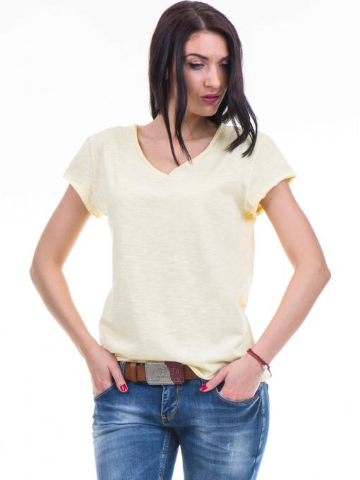 Спортна едноцветна тениска XINT с V-образно деколте - жълта