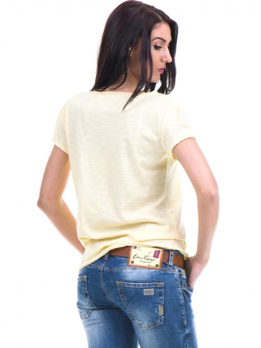 Спортна едноцветна тениска XINT с V-образно деколте - жълта B