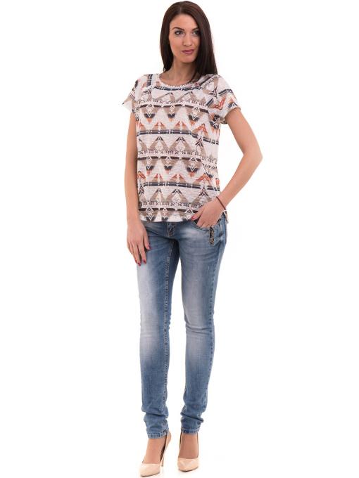 Дамска блуза с геометрични мотиви XINT 993 - светло бежова C