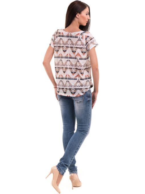 Дамска блуза с геометрични мотиви XINT 993 - светло бежова E