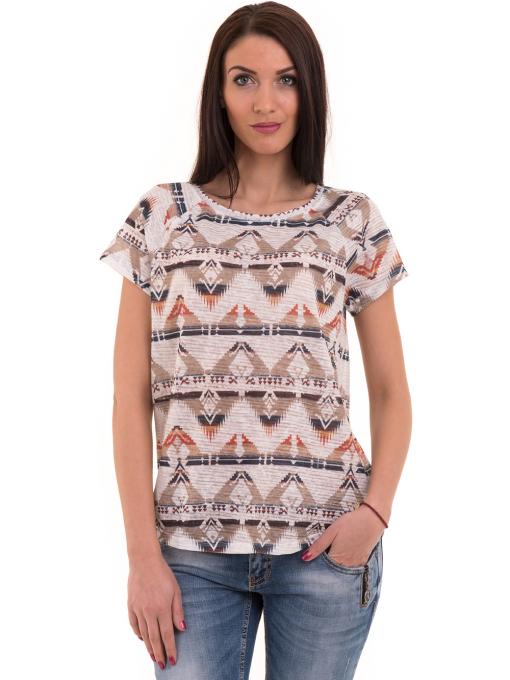 Дамска блуза с геометрични мотиви XINT 993 - светло бежова
