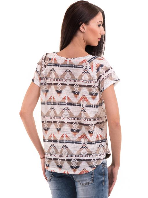 Дамска блуза с геометрични мотиви XINT 993 - светло бежова B
