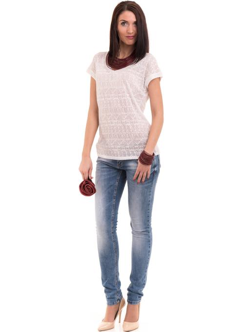 Дамска блуза с фигурални мотиви XINT 998 - цвят екрю C