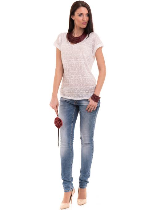 Дамска блуза с фигурални мотиви XINT 998 - цвят екрю C1