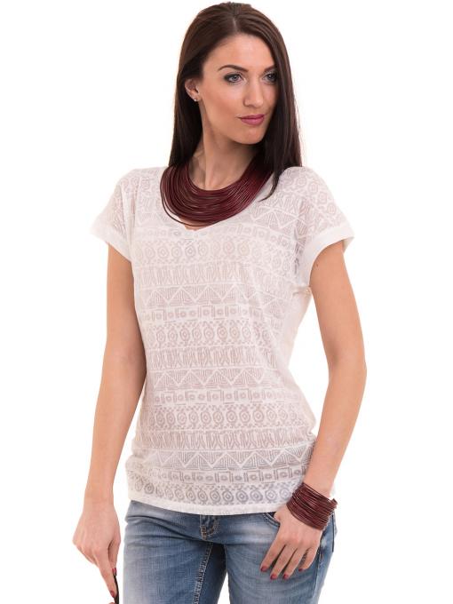Дамска блуза с фигурални мотиви XINT 998 - цвят екрю