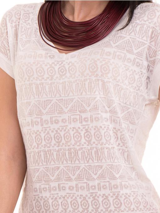 Дамска блуза с фигурални мотиви XINT 998 - цвят екрю D