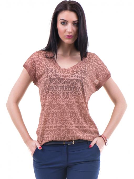Дамска блуза с фигурални мотиви XINT 998 - цвят керемида