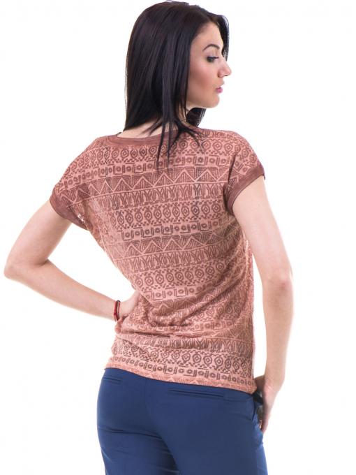 Дамска блуза с фигурални мотиви XINT 998 - цвят керемида B