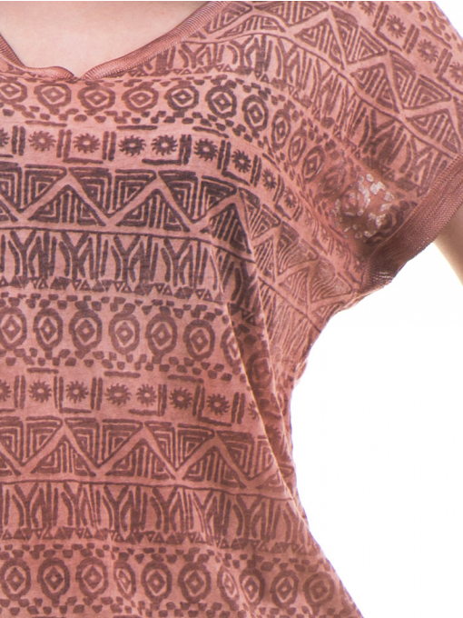 Дамска блуза с фигурални мотиви XINT 998 - цвят керемида D