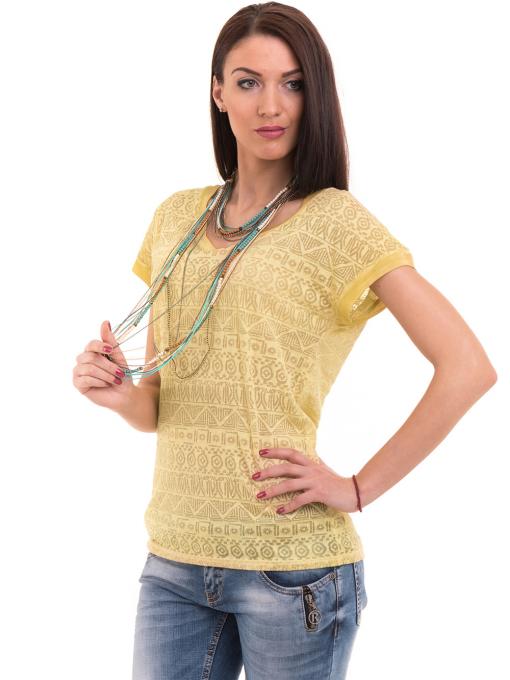 Дамска блуза с фигурални мотиви XINT 998 - тютюнево зелена