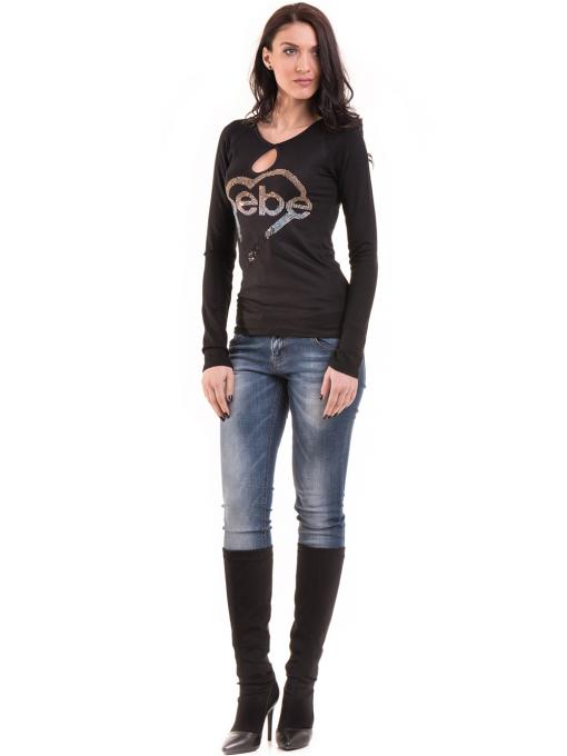 Дамска вталена блуза  BEBE 8104 - черна C