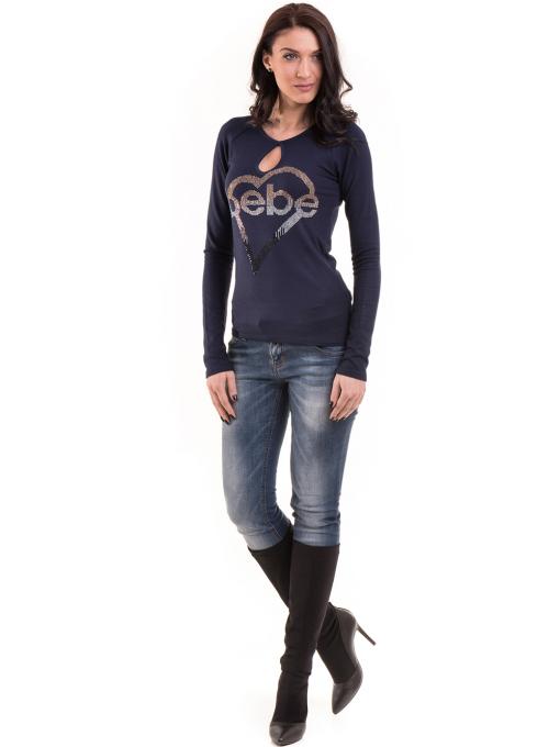 Дамска вталена блуза BEBE 8104 - тъмно синя C
