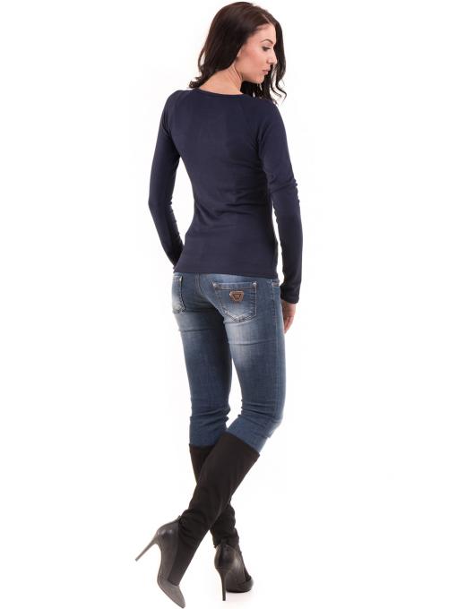 Дамска вталена блуза BEBE 8104 - тъмно синя E
