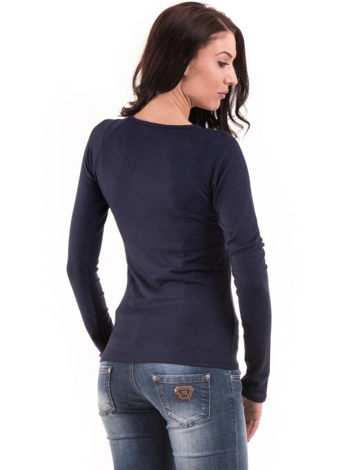 Дамска вталена блуза BEBE 8104 - тъмно синя B