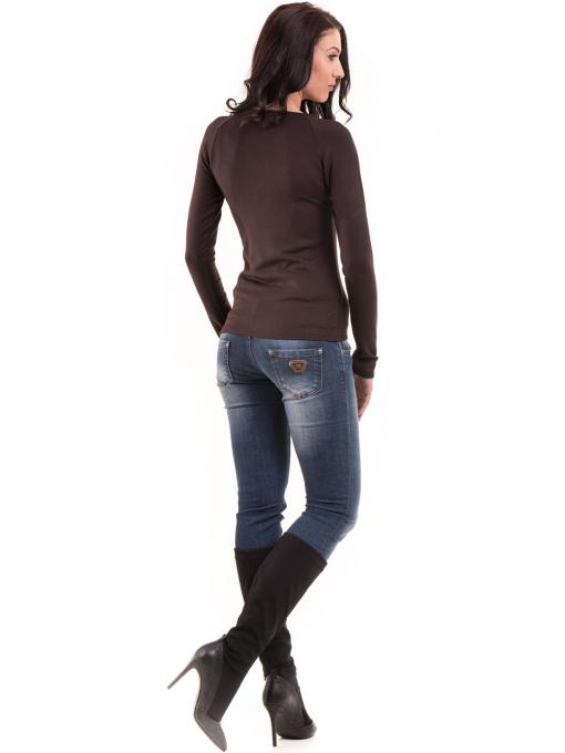 Дамска блуза слим фит модел- цвят кафяв Г