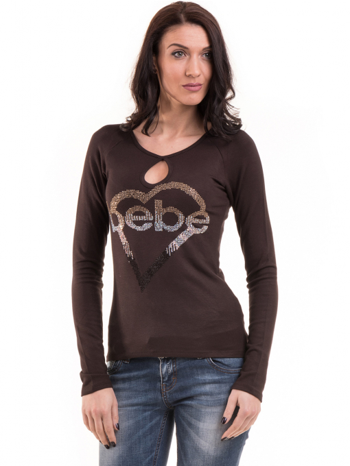Дамска блуза слим фит модел- цвят кафяв