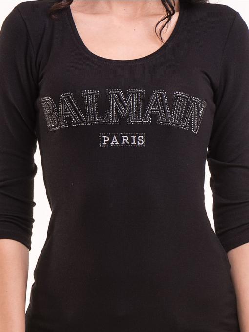 Дамска блуза BALMAIN с надпис 7010 - черна D
