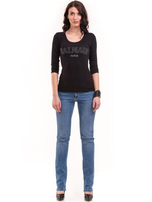 Дамска блуза BALMAIN с надпис 7010 - черна C